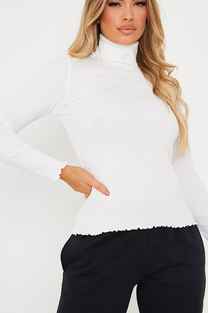 White Cotton Rib Roll Neck Long Sleeve Top view 4