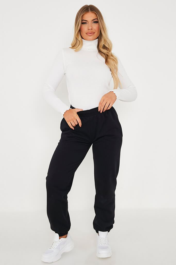 White Cotton Rib Roll Neck Long Sleeve Top view 2