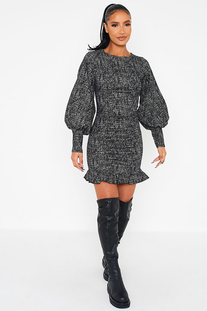 Black Textured Bengaline Exaggerated Puff Sleeve Dress view 2