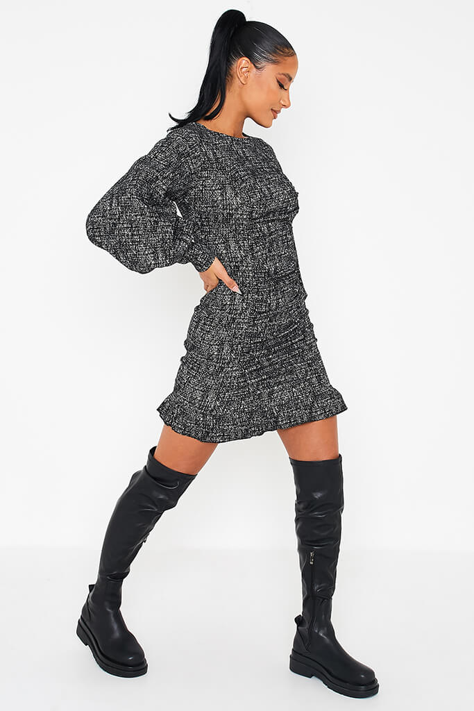 Black Textured Bengaline Exaggerated Puff Sleeve Dress view 3
