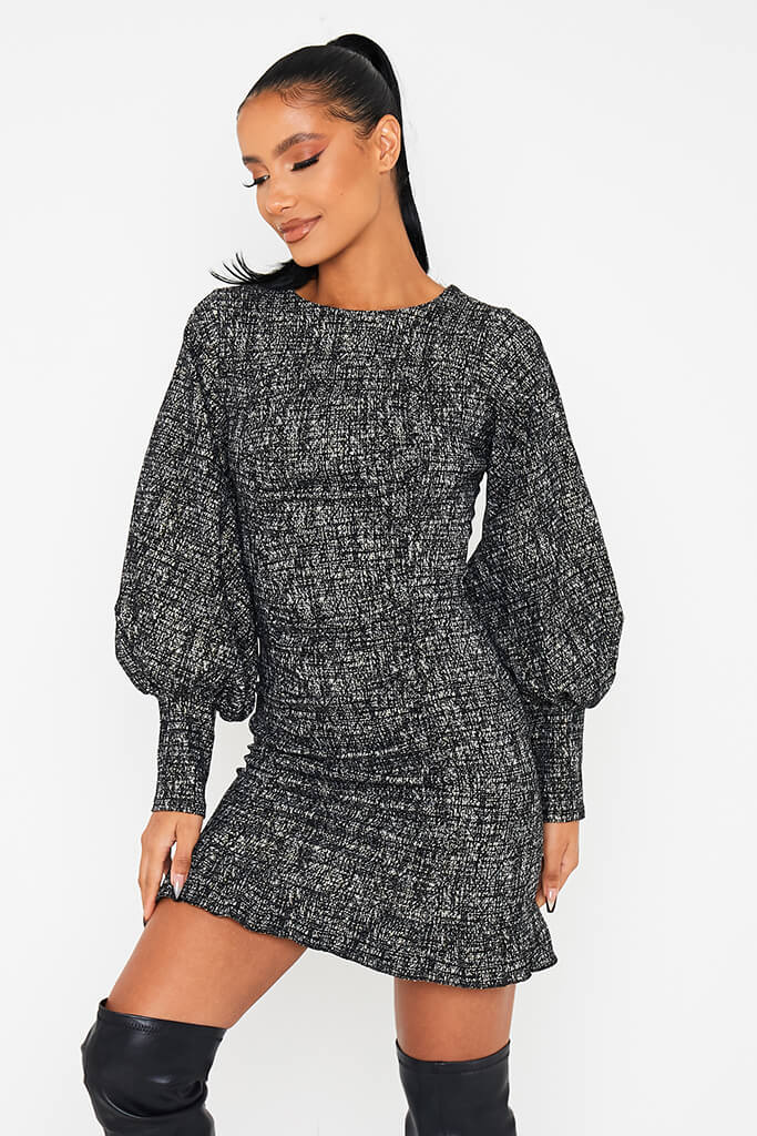 Black Textured Bengaline Exaggerated Puff Sleeve Dress