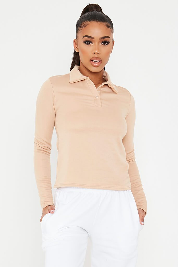Stone Long Sleeve Polo Top view main view