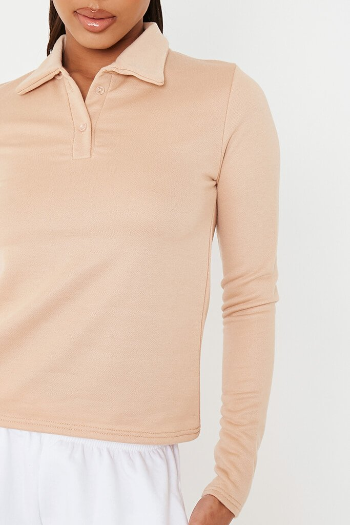 Stone Long Sleeve Polo Top view 5