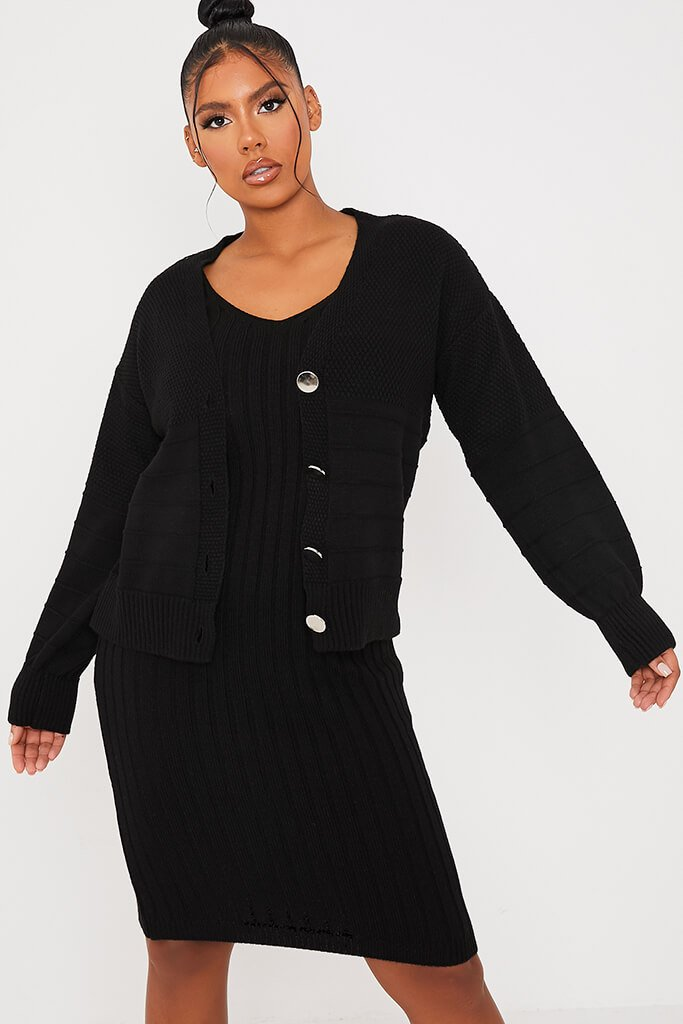 Black Cardigan And Knitted Dress Co Ord