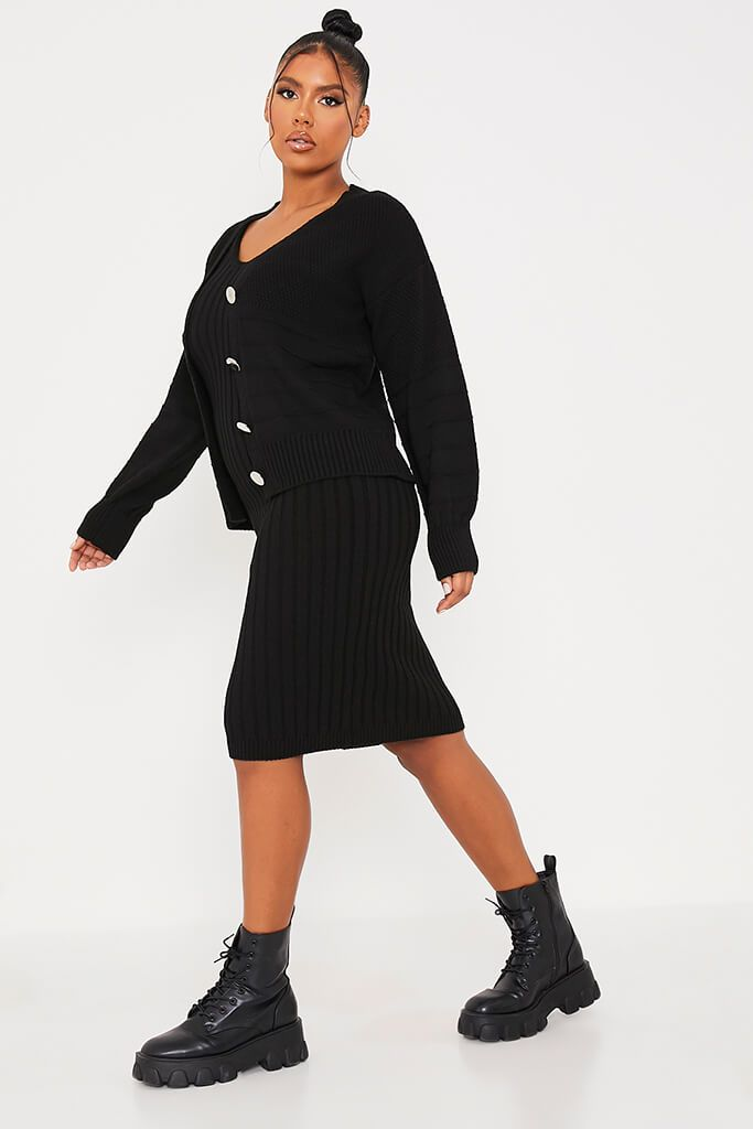 Black Cardigan And Knitted Dress Co Ord view 3