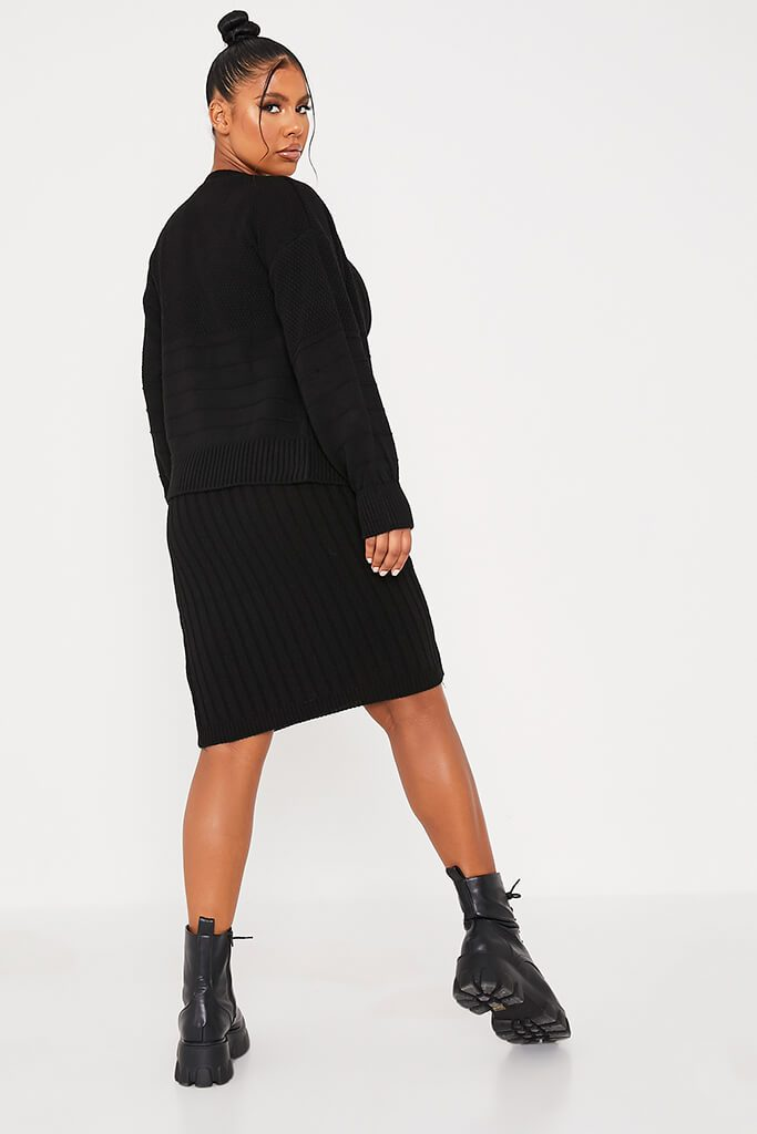 Black Cardigan And Knitted Dress Co Ord view 4