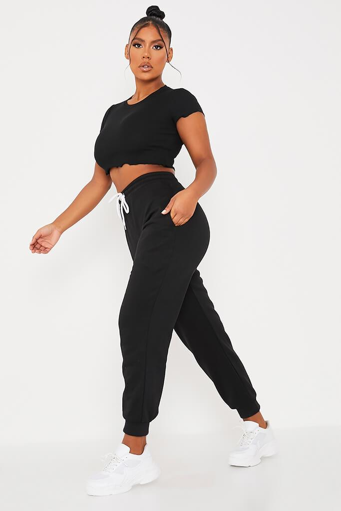 Black Oversized Tie Front Joggers view 3