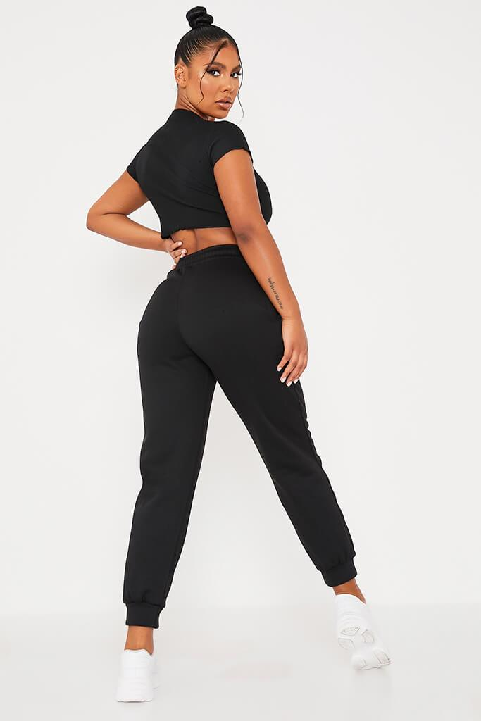 Black Oversized Tie Front Joggers view 4