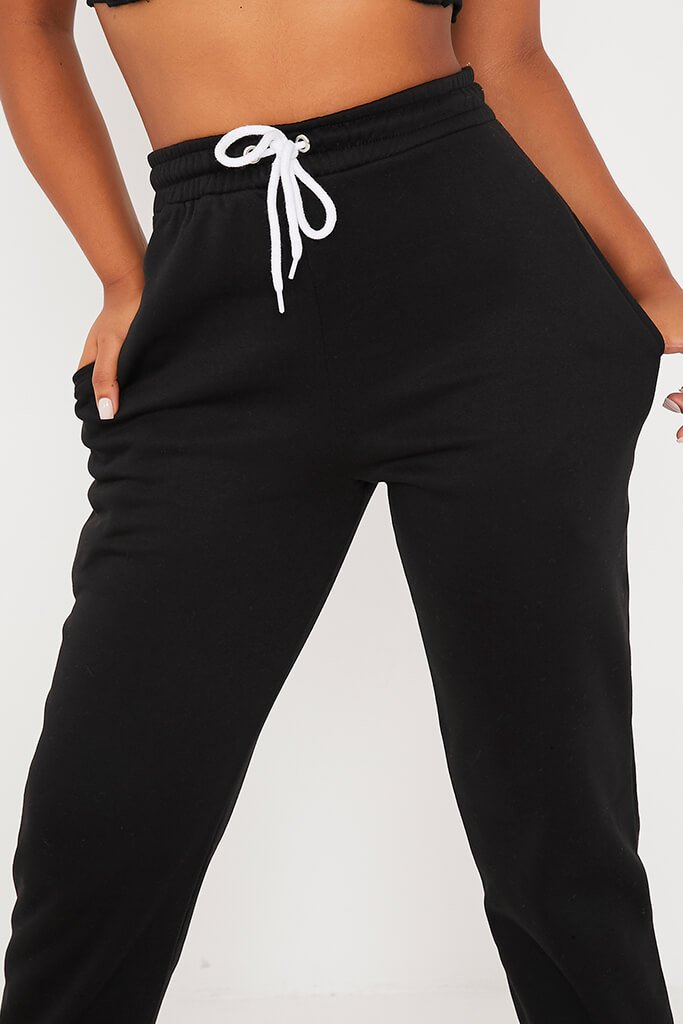Black Oversized Tie Front Joggers view 5