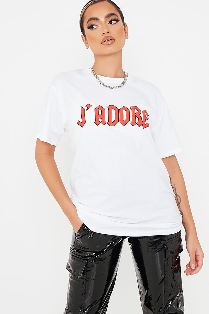 White J'adore Oversized T Shirt view 2