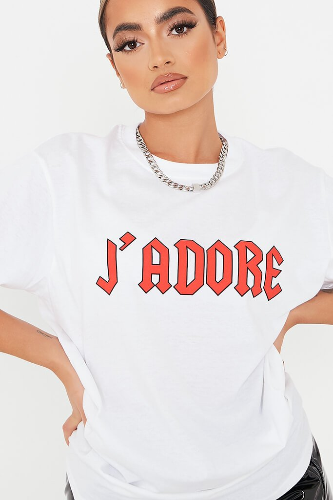 White J'adore Oversized T Shirt view 5