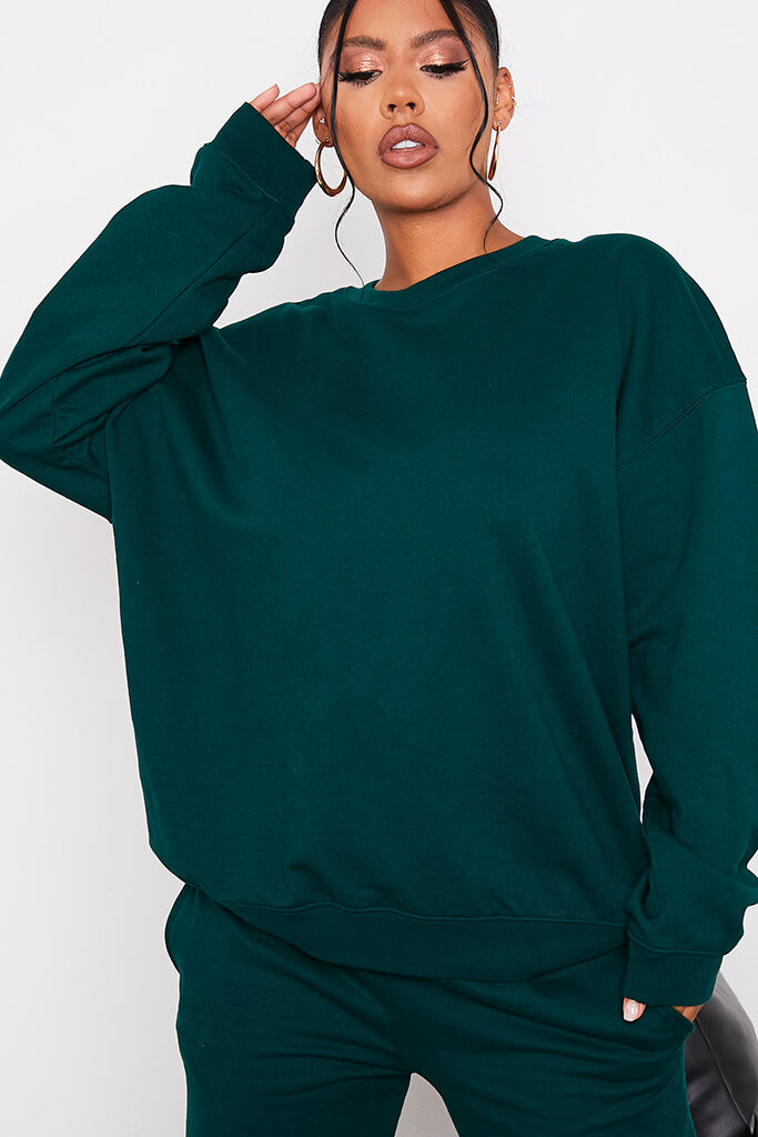 Forest Green Ultimate Oversized Crew Neck Sweatshirt view 5