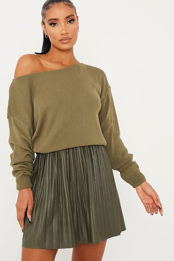 Olive Green Slash Neck Knitted Jumper view main view