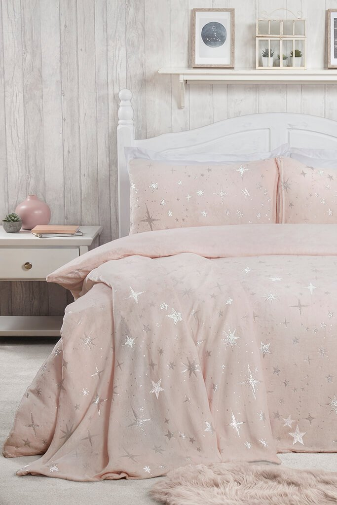 Blush Pink Double Set Fleece Scattered Stars Bedding