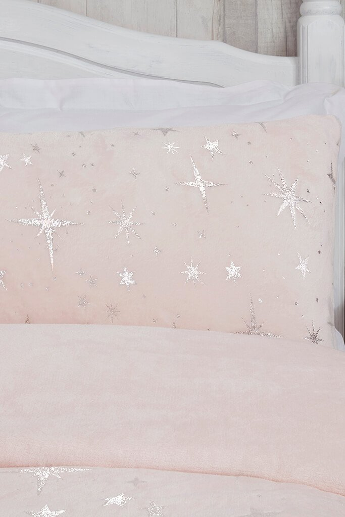 Blush Pink Double Set Fleece Scattered Stars Bedding view 2
