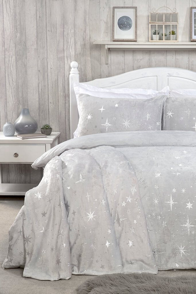 Silver Single Set Fleece Scattered Stars Bedding view main view