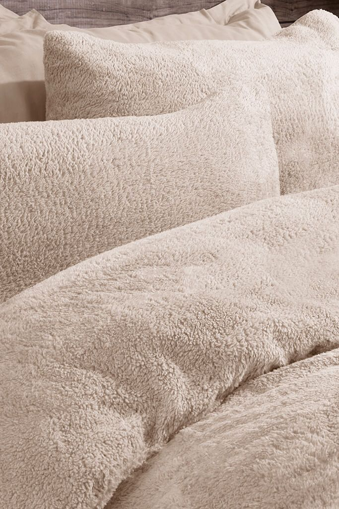 Beige Single Set Teddy Fleece Bedding view 2