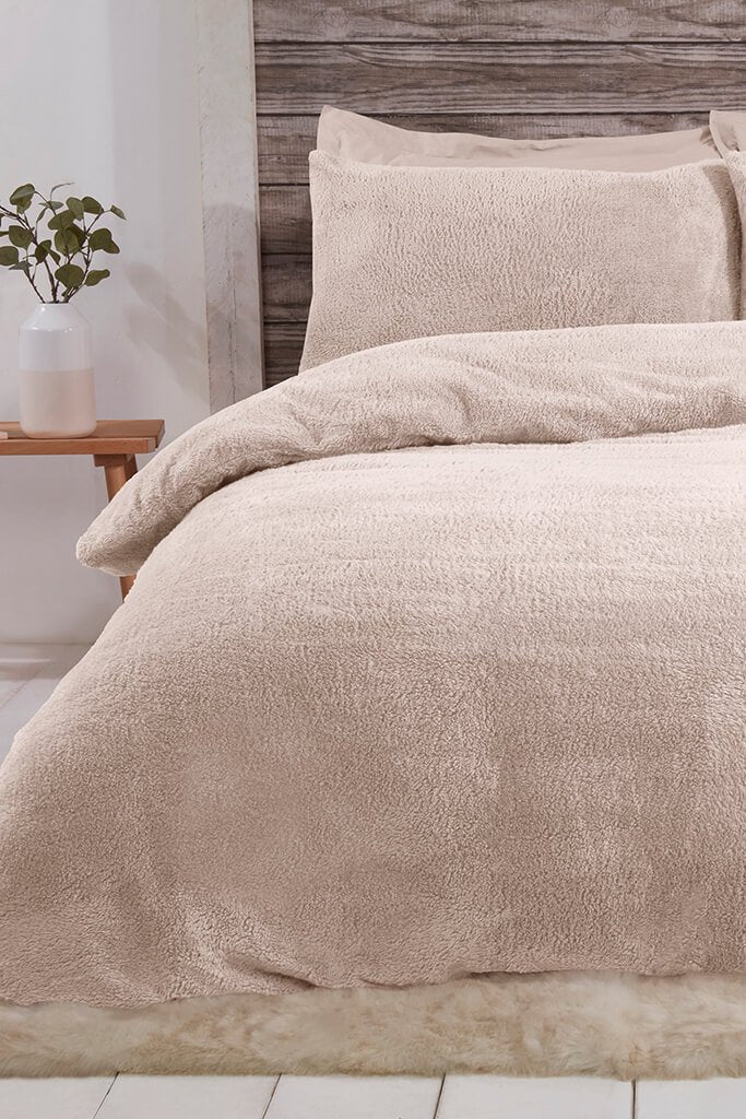 Beige Single Set Teddy Fleece Bedding