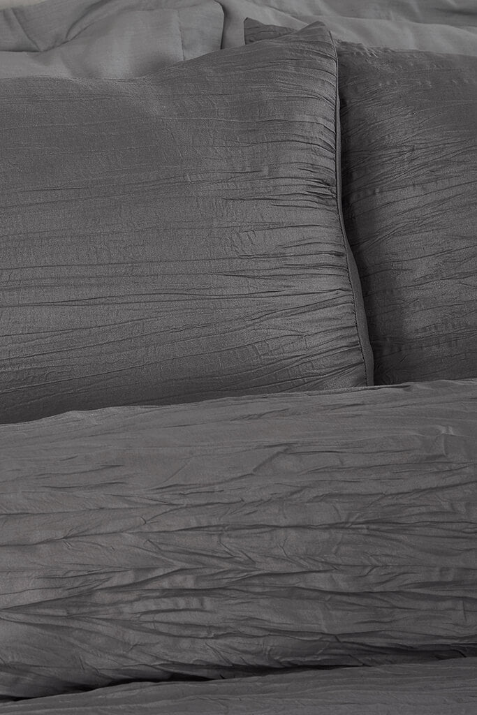 Charcoal Double Set Super Soft Crinkle Bedding view 2