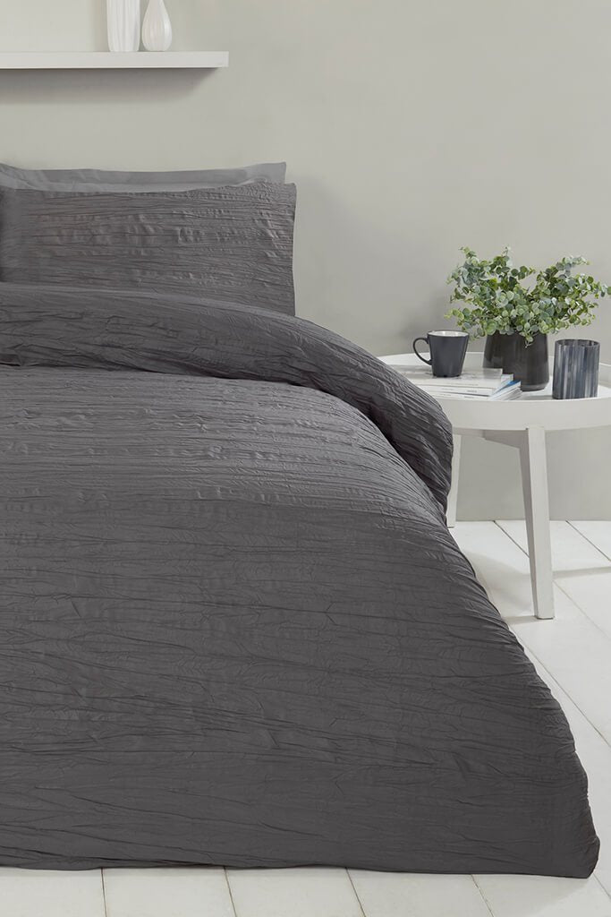 Charcoal Double Set Super Soft Crinkle Bedding