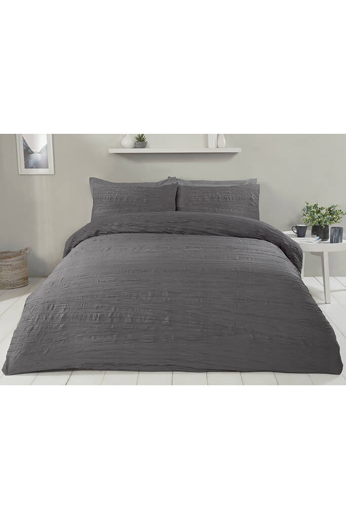 Charcoal Double Set Super Soft Crinkle Bedding view 3