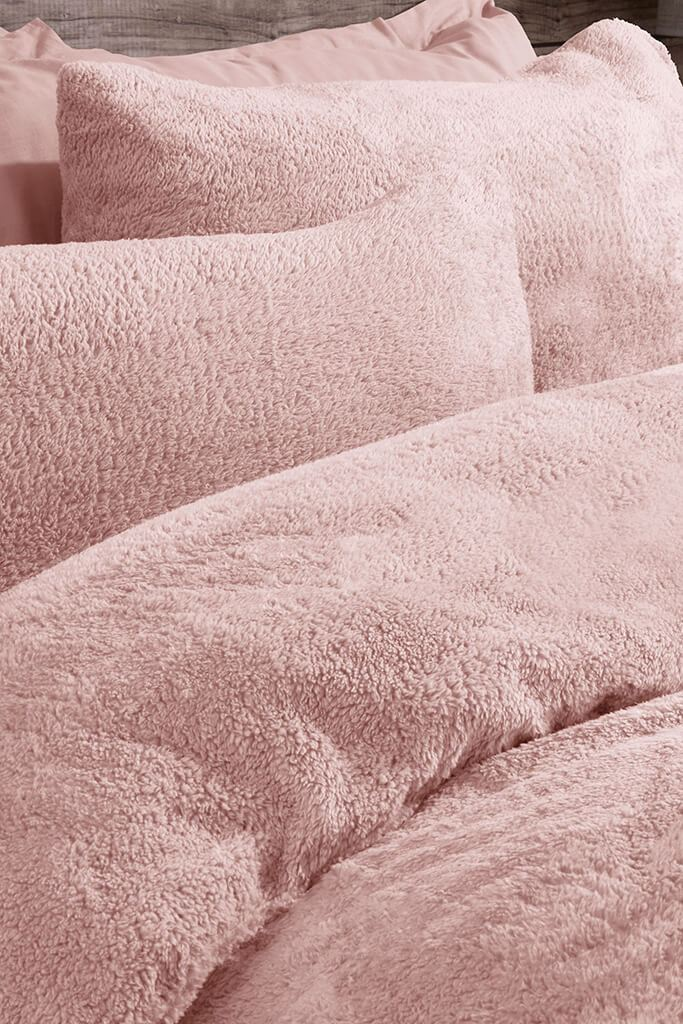 Blush Pink Single Set Teddy Fleece Bedding view 2