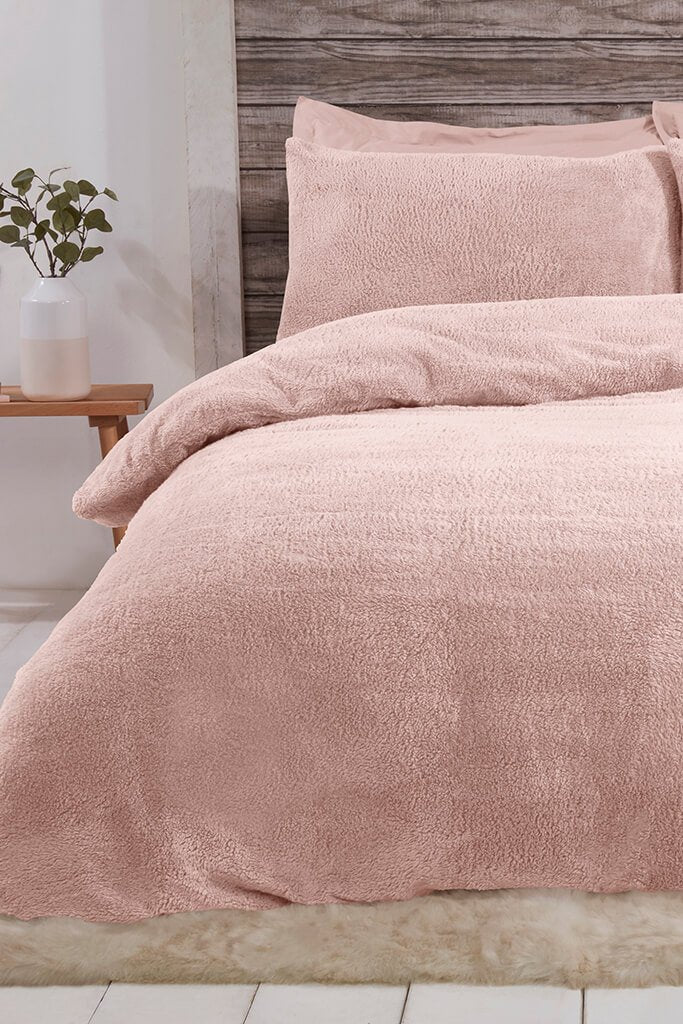 Blush Pink Single Set Teddy Fleece Bedding