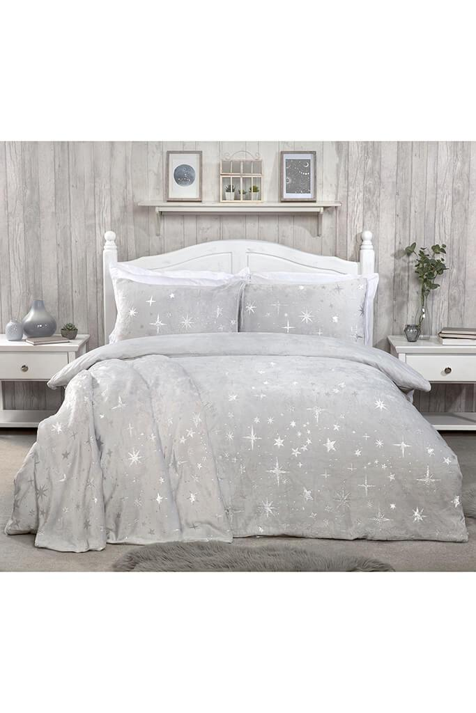 Silver King Size Set Fleece Scattered Stars Bedding view 3