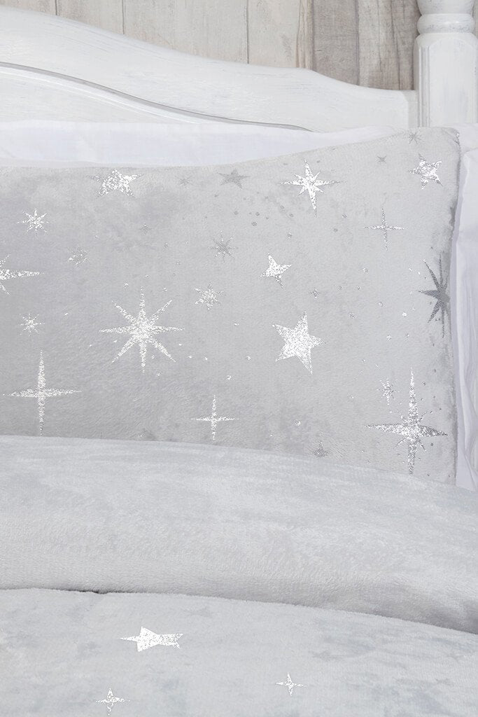 Silver King Size Set Fleece Scattered Stars Bedding view 2