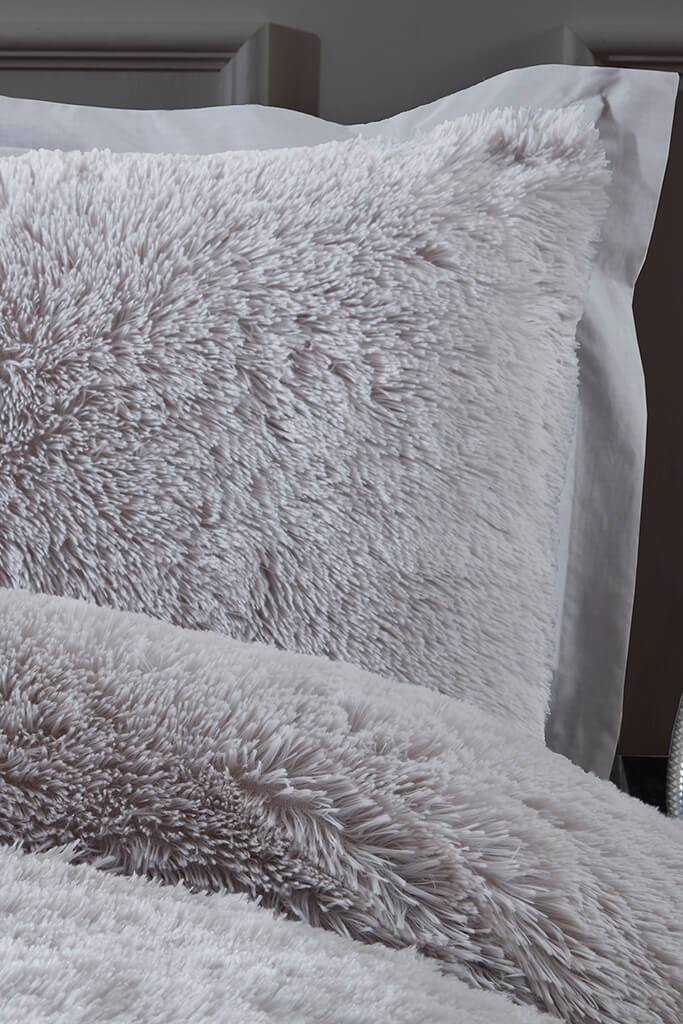 Silver King Size Set Shaggy Faux Fur Bedding view 2