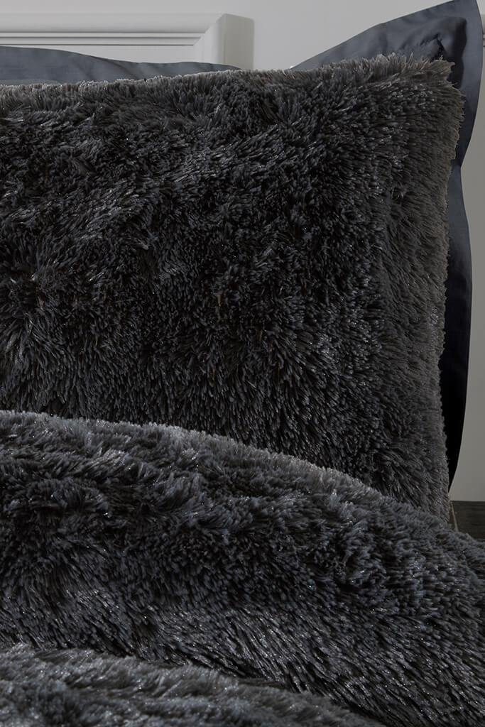 Charcoal Single Set Shaggy Faux Fur Bedding view 2