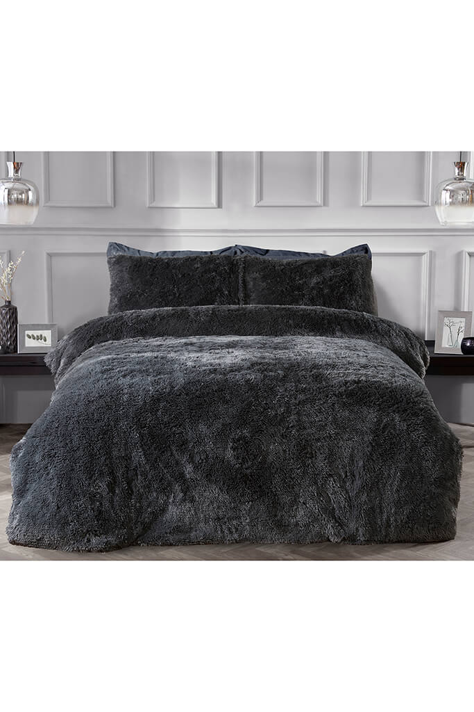 Charcoal Single Set Shaggy Faux Fur Bedding view 3