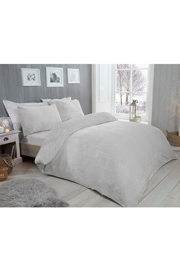 Silver Double Set Waffle Fleece Bedding view 3