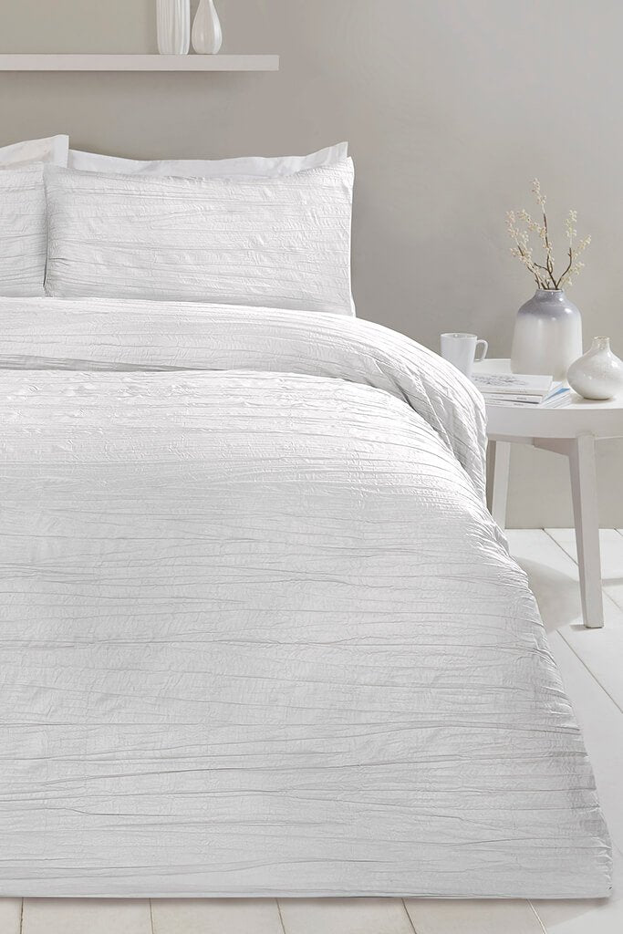 White Double Set Super Soft Crinkle Bedding