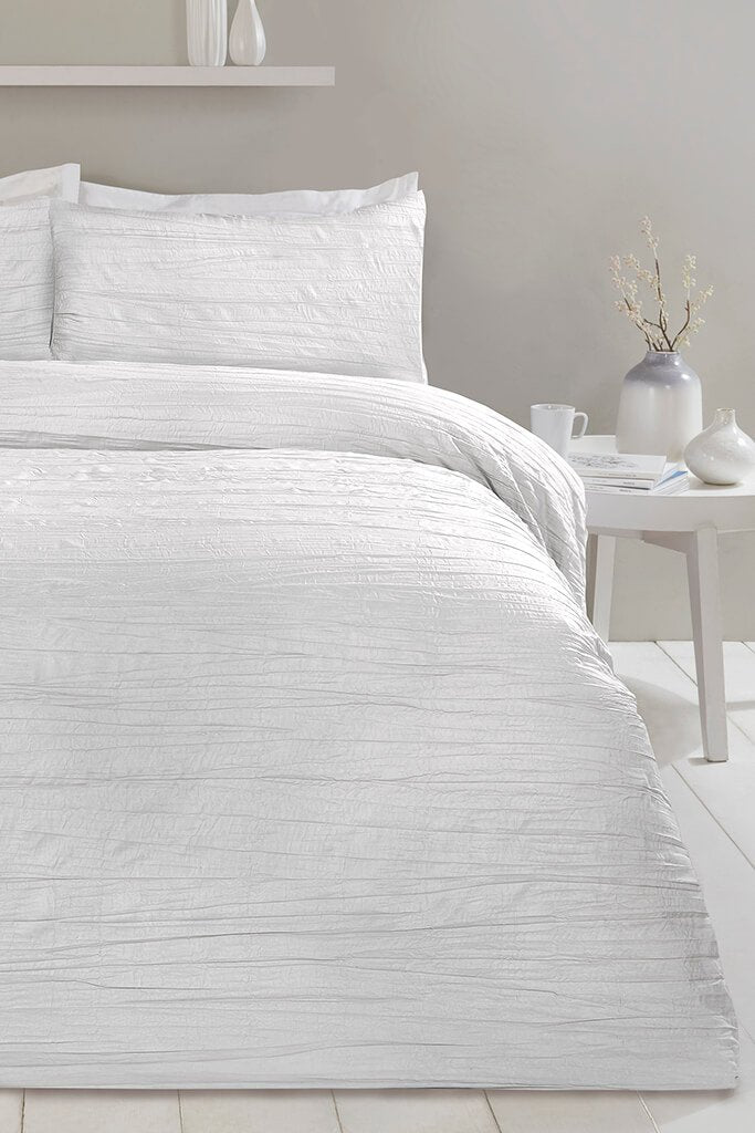 White King Size Set Super Soft Crinkle Bedding