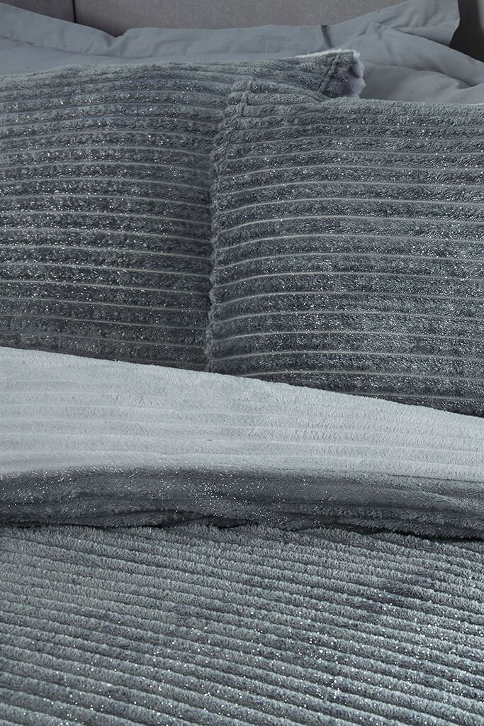 Grey King Size Set Sparkle Ribbed Fleece Bedding view 2