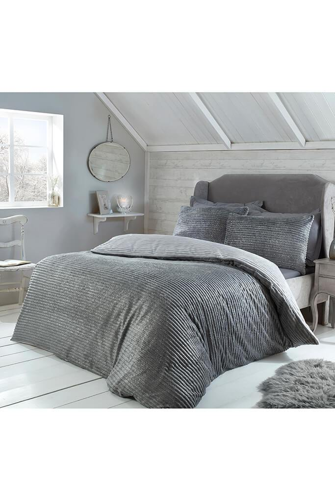 Grey King Size Set Sparkle Ribbed Fleece Bedding view 3