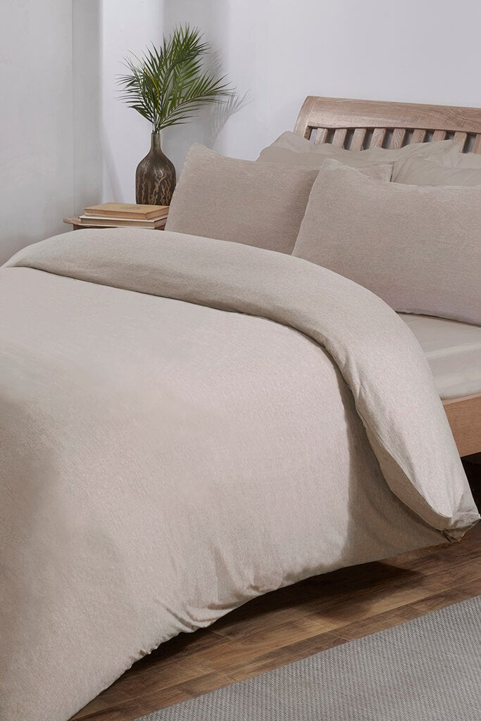 Beige King Size Jersey Fitted Sheet