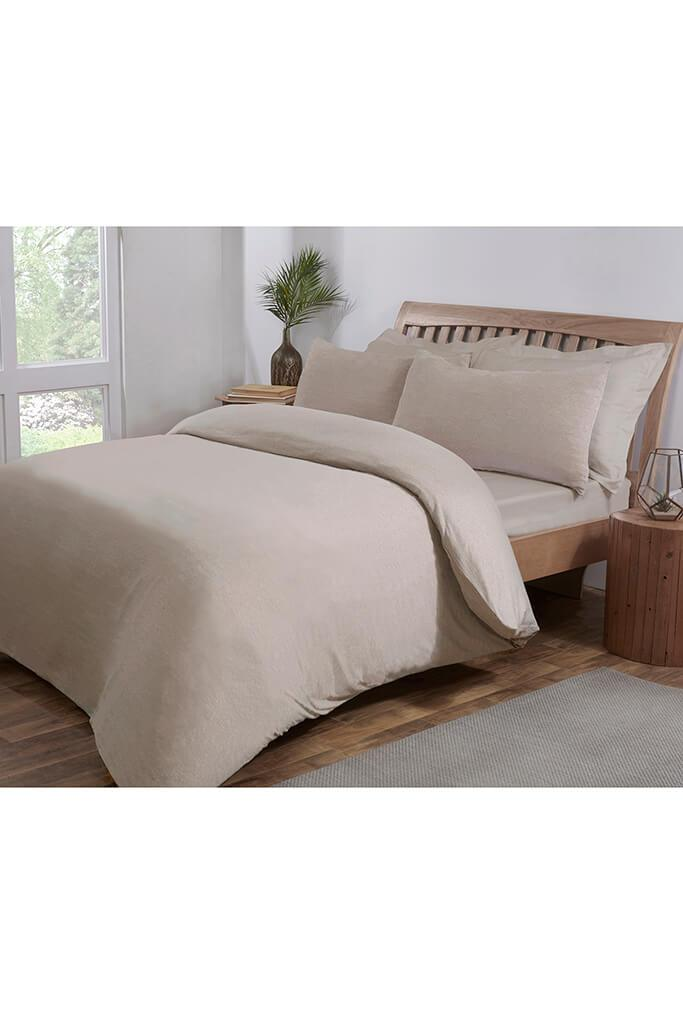 Beige King Size Jersey Fitted Sheet view 2