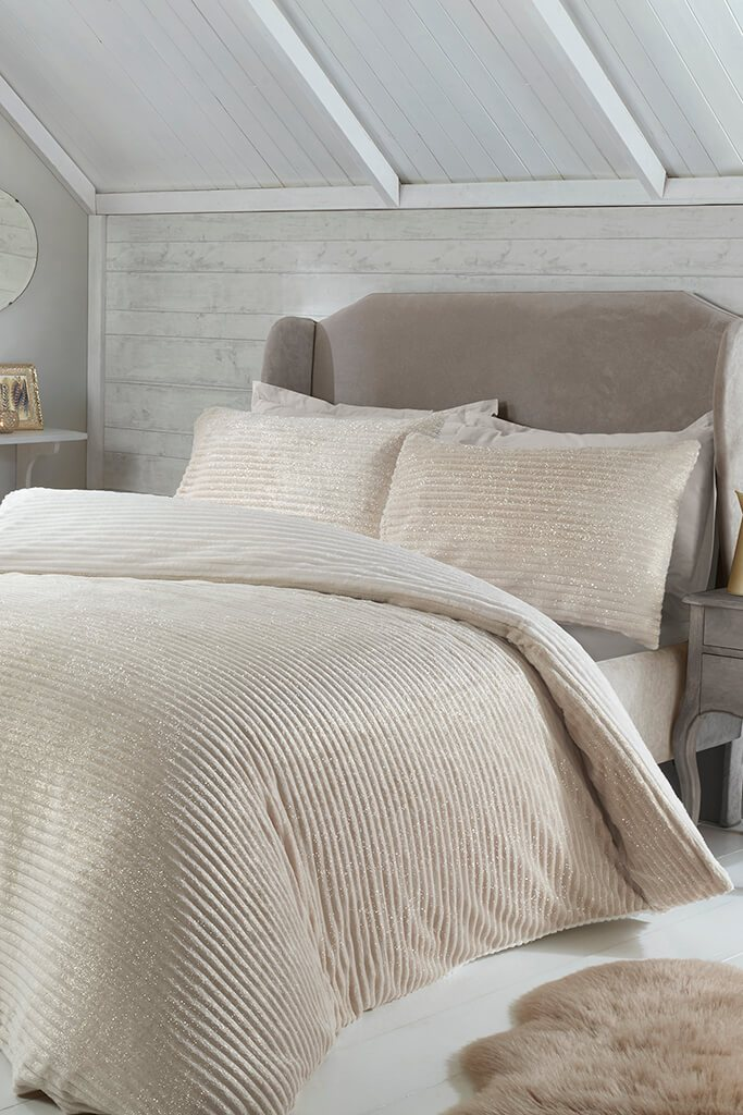 Cream Double Set Sparkle Ribbed Fleece Bedding view main view