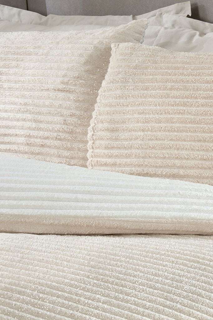 Cream Super King Size Set Sparkle Ribbed Fleece Bedding view 2