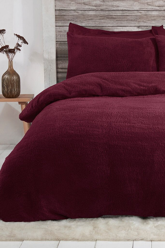Wine King Size Set Teddy Fleece Bedding