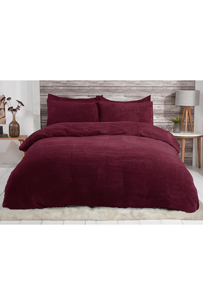 Wine King Size Set Teddy Fleece Bedding view 3