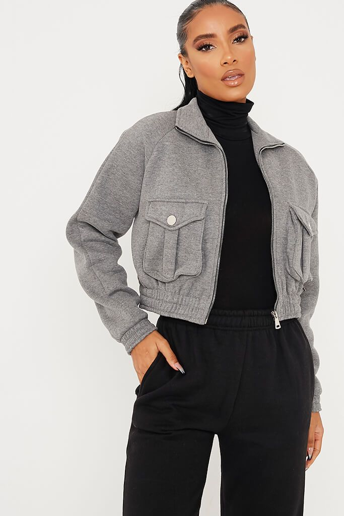 Light Grey Zip Up Pocketed Jacket