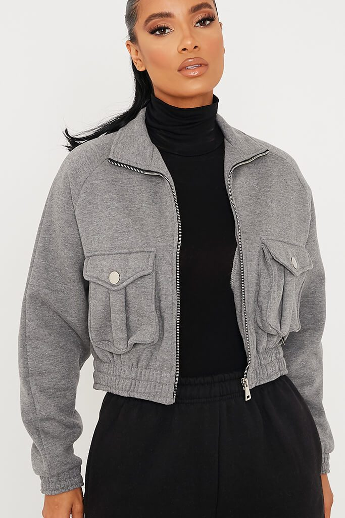 Light Grey Zip Up Pocketed Jacket view 5