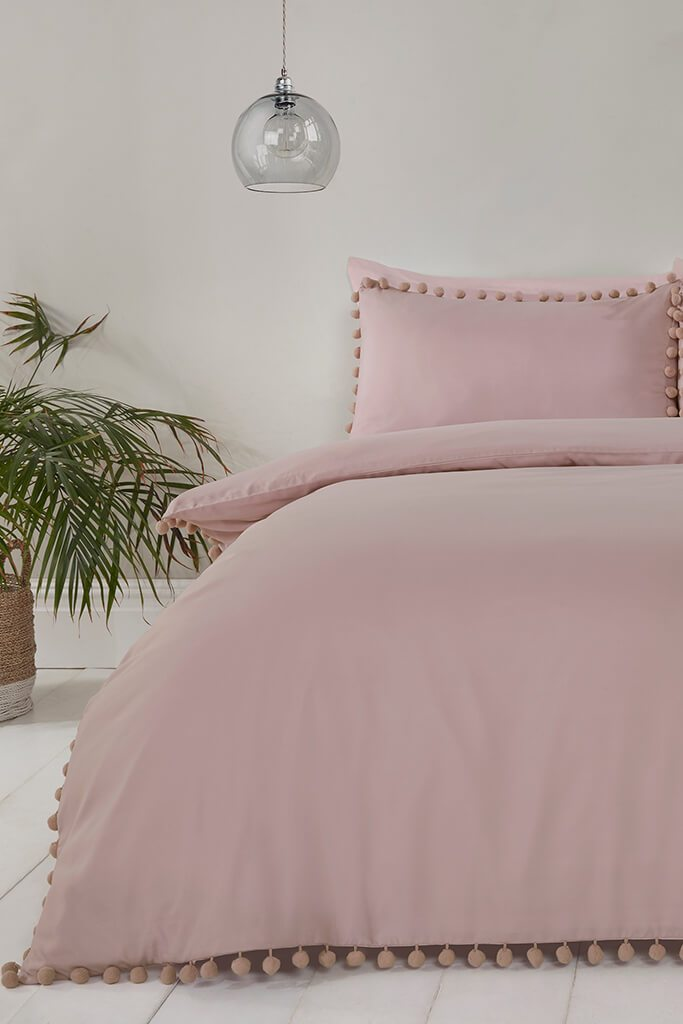 Blush Pink Single Set Pom Pom Bedding view main view