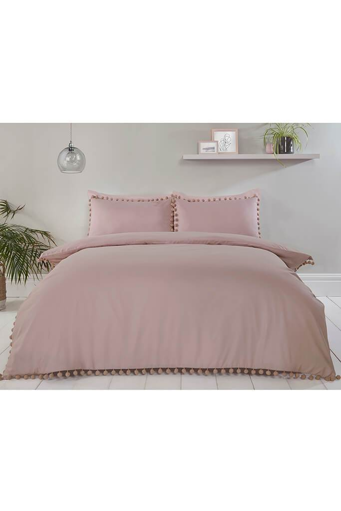Blush Pink Single Set Pom Pom Bedding view 2