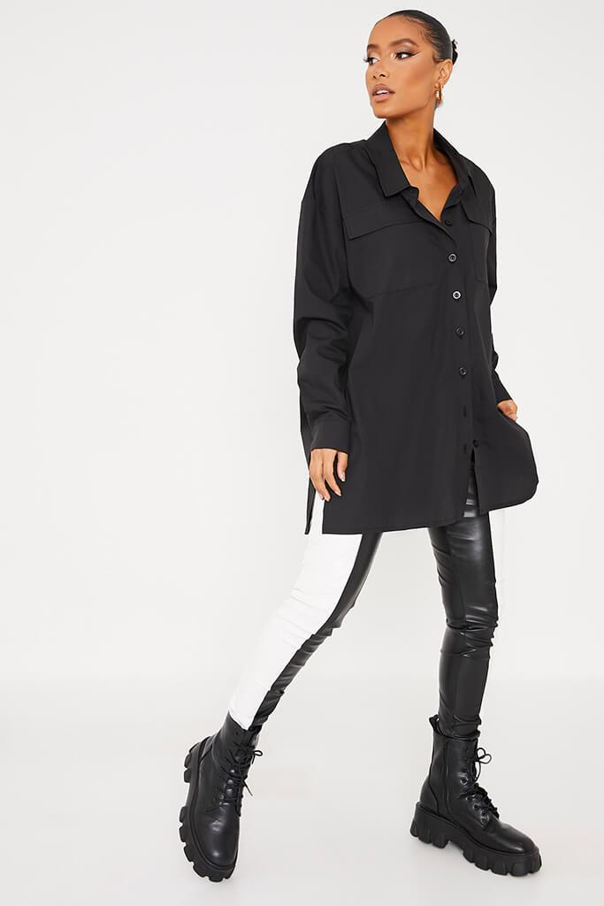 Black Woven Button Front Oversized Shirt view 2