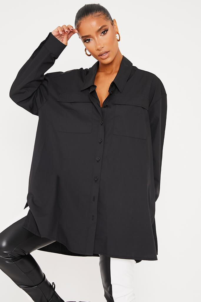 Black Woven Button Front Oversized Shirt