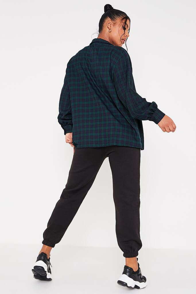 Green Woven Check Button Front Dipped Hem Shirt view 4